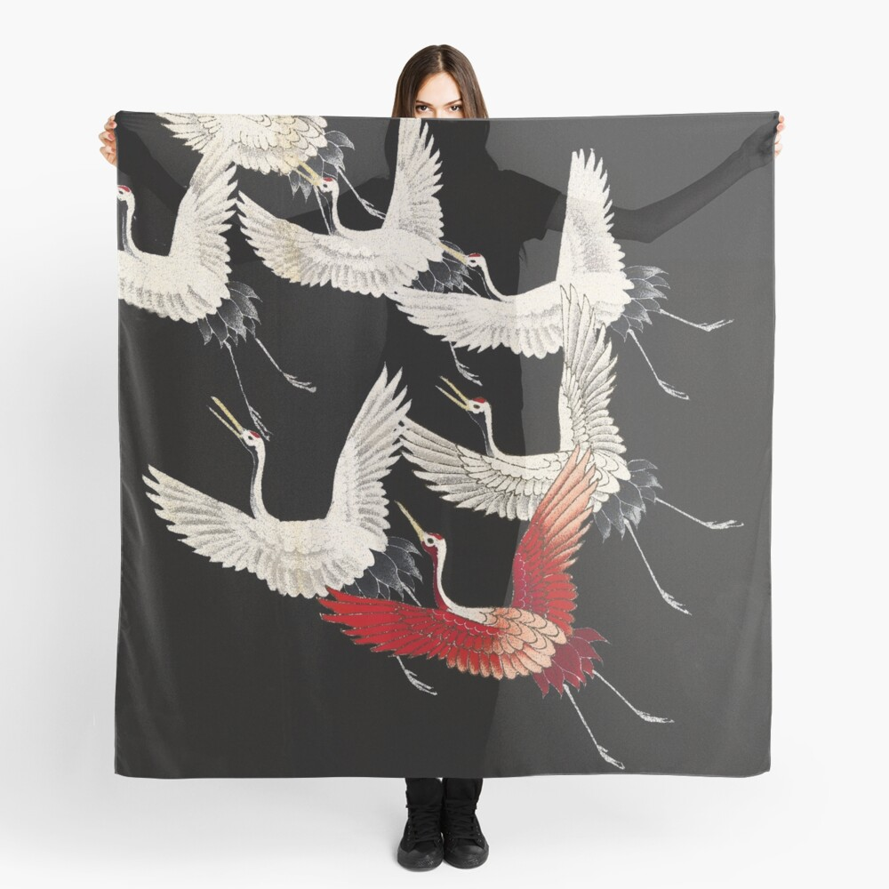 Scarf version of Wild cranes in Black Scarf
