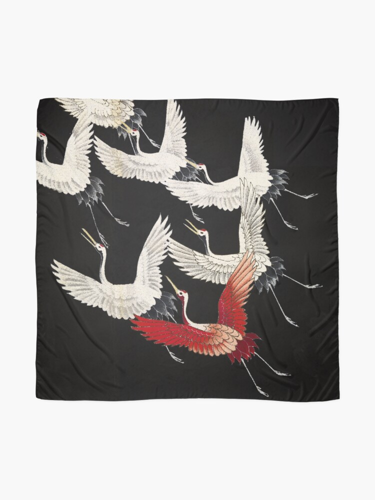 Alternate view of Scarf version of Wild cranes in Black Scarf