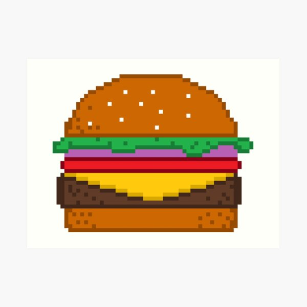 Hamburger Pixel Art Prints Redbubble