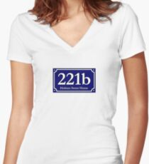 221b - Holmes Sweet Home Women's Fitted V-Neck T-Shirt