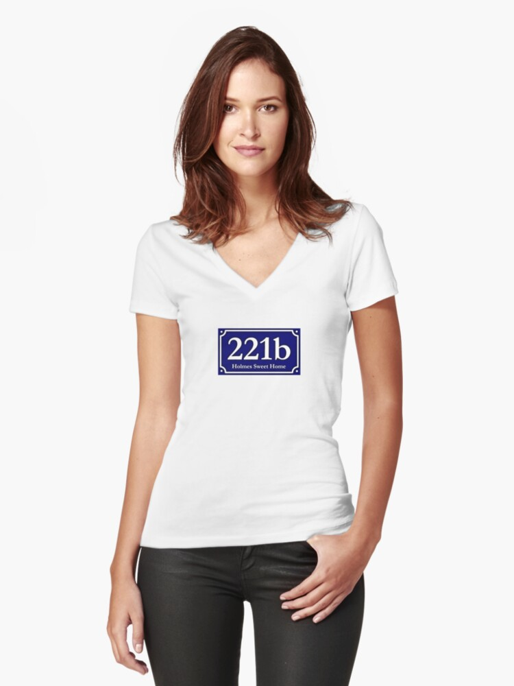 221b - Holmes Sweet Home Women's Fitted V-Neck T-Shirt Front