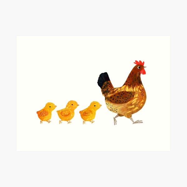 Chicken and chicks Art Print