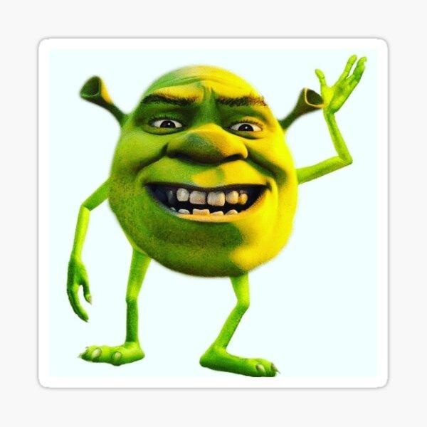 Dank Cursed Shrek Wazowski Sticker By Akaizeit Redbubble