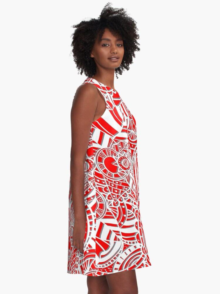 Alternate view of Red gray white geometric pattern A-Line Dress