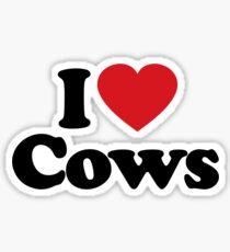 I Love Heart Cows Sticker Sticker