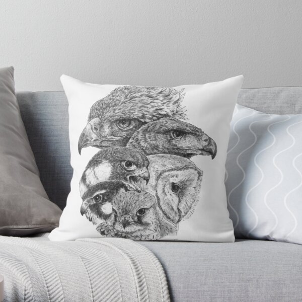 Bird of prey ink illustration  Throw Pillow