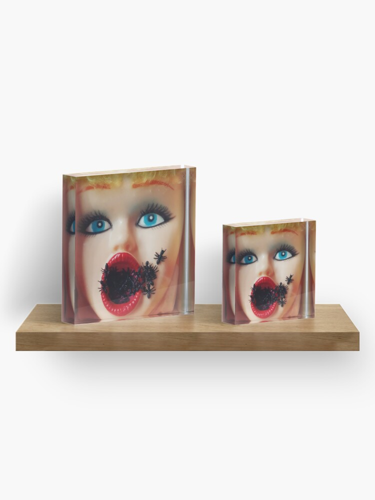 Alternate view of Feminist Kitsch Horror Creepy Blow Up Doll Head Print Acrylic Block