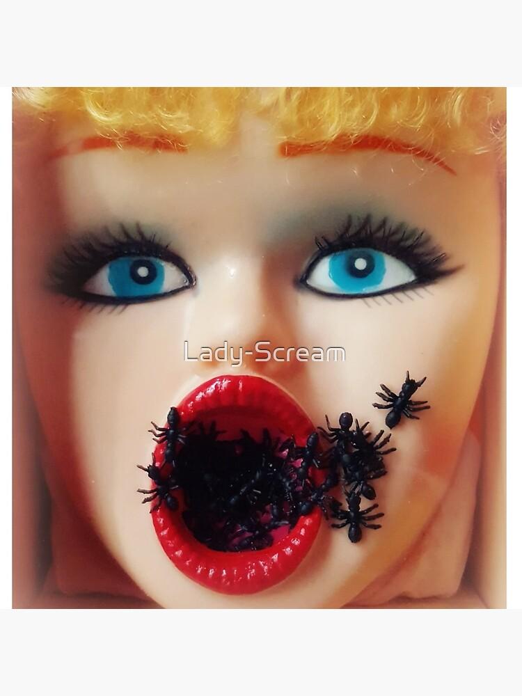 Feminist Kitsch Horror Creepy Blow Up Doll Head Print by Lady-Scream