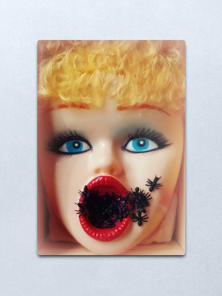 Alternate view of Feminist Kitsch Horror Creepy Blow Up Doll Head Print Metal Print