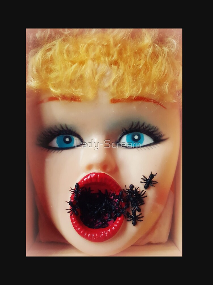 Feminist Kitsch Horror Creepy Blow Up Doll Head Print by Lady-Scream