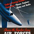 Army Air Force Recruiting Enlistment Poster ~ Vintage Jet Fighter ~ 0515 by ContrastStudios
