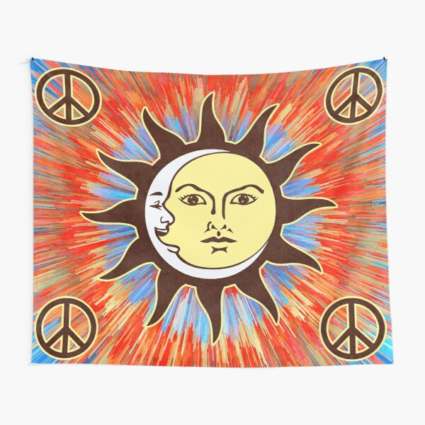 Psychedelic Sun & Moon / Peace Sign Bohemian Hippie Festival  Tapestry