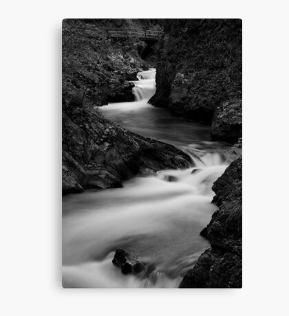 The Soteska Vintgar gorge in Black and White Canvas Print