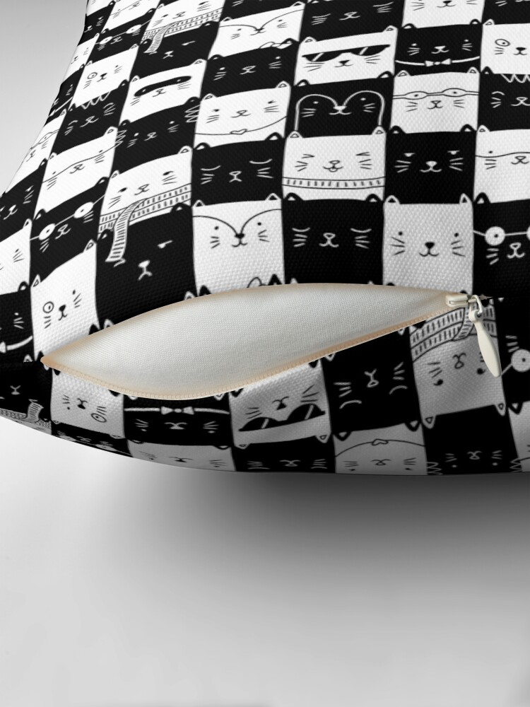 Alternate view of Checkered Kitties Throw Pillow