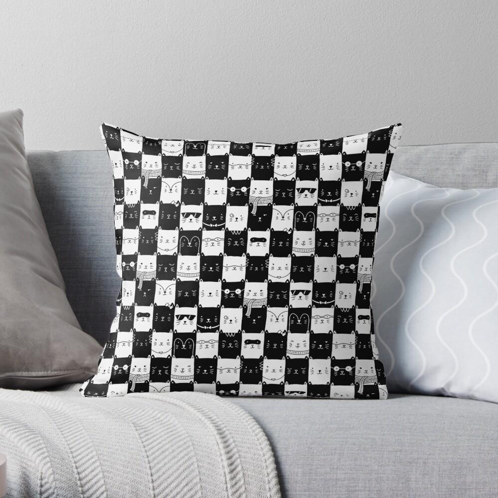 Checkered Kitties Throw Pillow