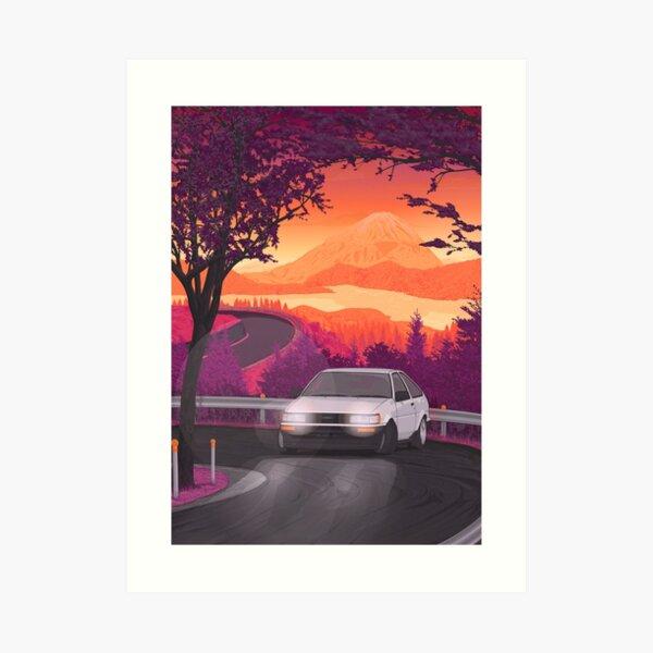 AE86 Corolla touge drift (version 2) Art Print