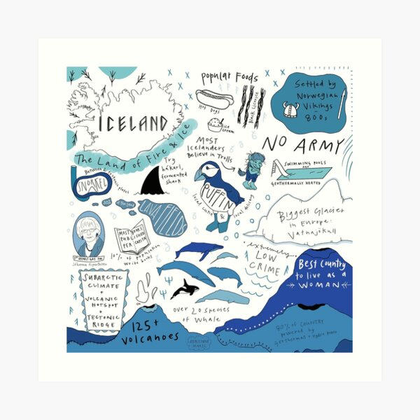 Iceland Facts Art Print