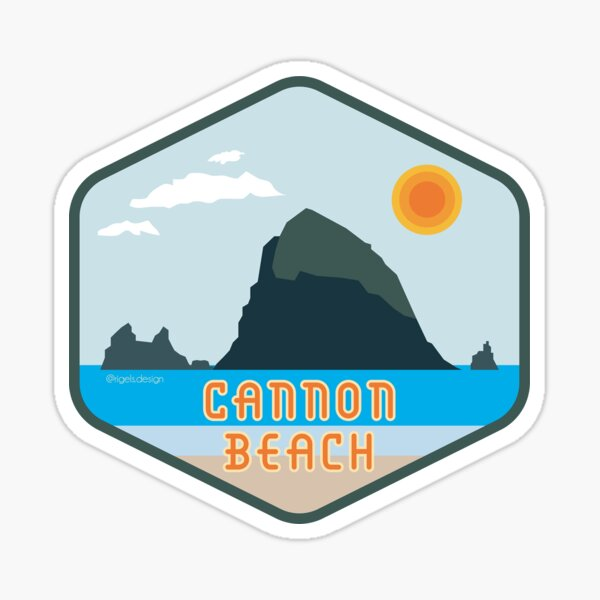 Cannon Beach Haystack Rock Badge Sticker