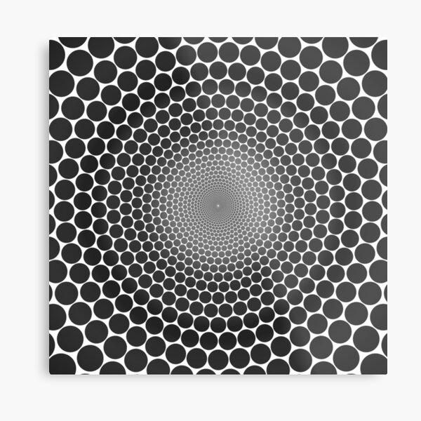 Optical Illusion Radial Gradient Slate on White NOIR 2 Metal Print