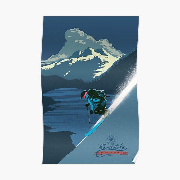 Retro ski print Revelstoke Poster