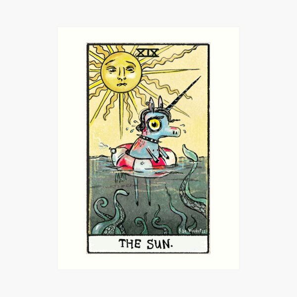 """The Sun"" from the Stabby Unicorn Tarot Collection Art Print"
