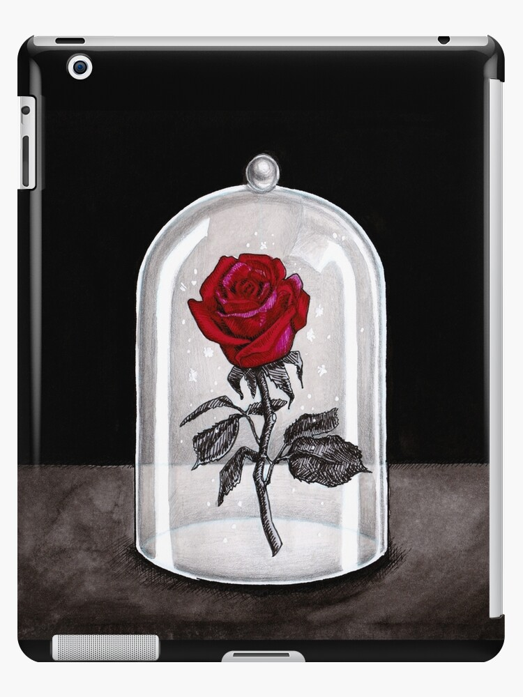 Beauty And The Beast Enchanted Rose Under Glass Dome Terrarium Belle By Kimro Studio Ipad Case Skin By Kimrostudio Redbubble