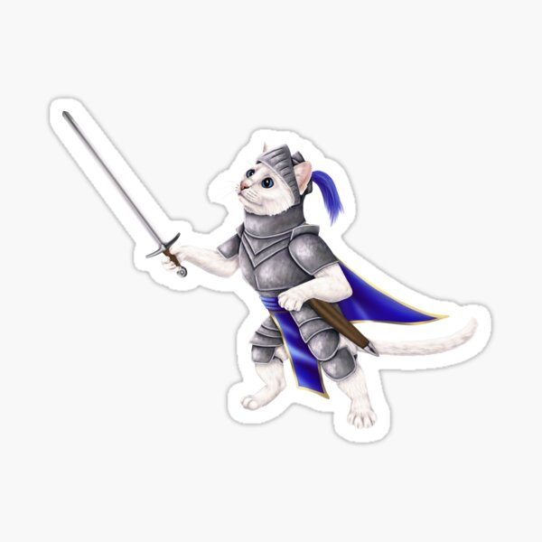 Knight cat - kitty in a suit of armor Sticker
