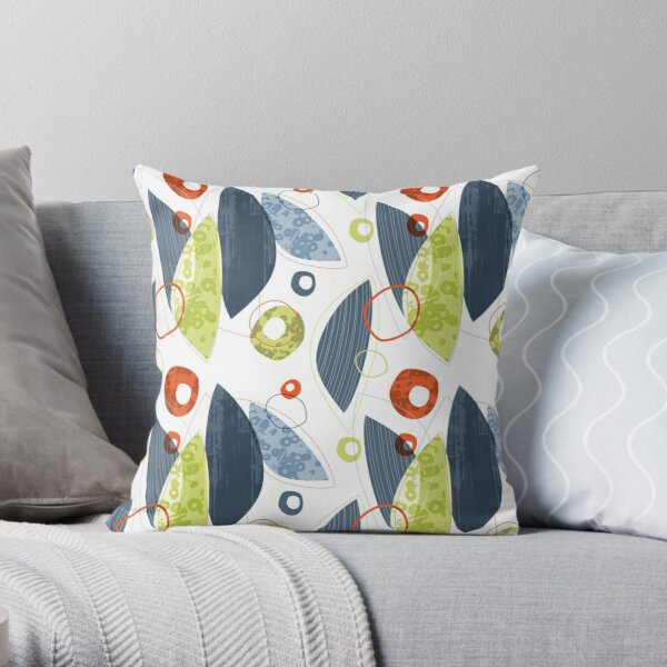 Leaves and Circles and Lines Throw Pillow