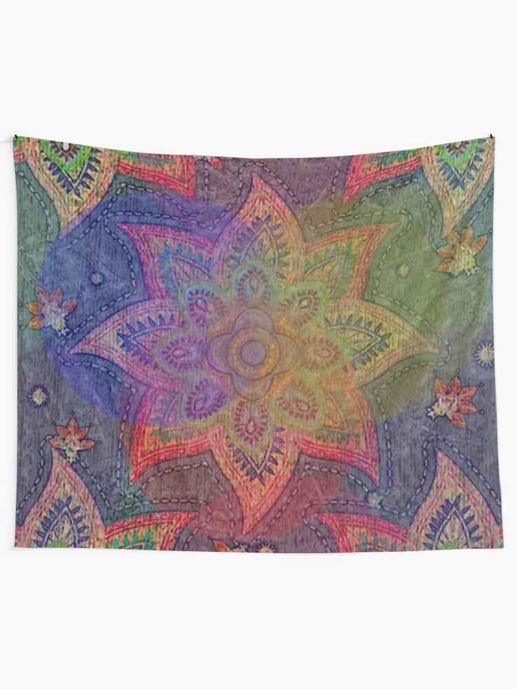 Alternate view of Psychedelic Mandala Rainbow Paisley Tapestry
