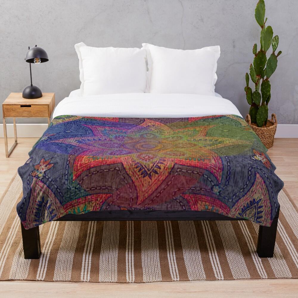 Psychedelic Mandala Rainbow Paisley Throw Blanket