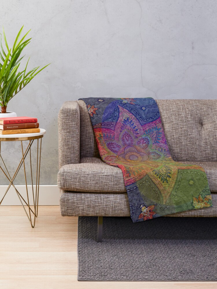 Alternate view of Psychedelic Mandala Rainbow Paisley Throw Blanket
