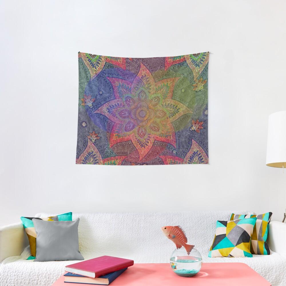Psychedelic Mandala Rainbow Paisley Tapestry