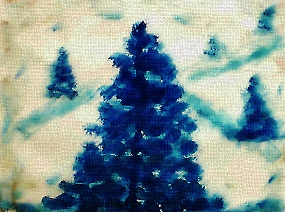 Time to go cut down a tree?  watercolor by Anna  Lewis, blind artist