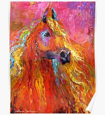 Red Impressionistic Arabian Horse painting Poster
