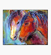 Two Mustang Horses Impressionistic Painting Photographic Print