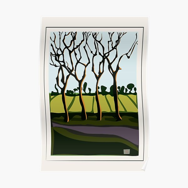 Trees against a low sun. Poster