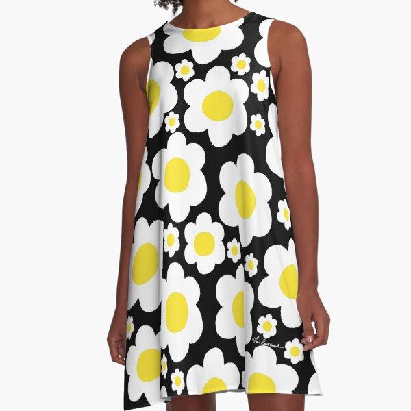 Retro 60's Daisy Pop Flowers A-Line Dress