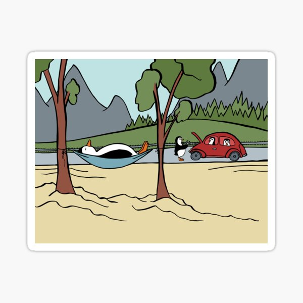 Engine Trouble on the Penguin Family Road Trip Sticker