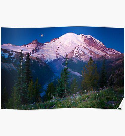 White River Moonset Poster