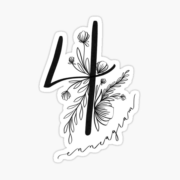 Eneagrama cuatro con acentos florales. Pegatina