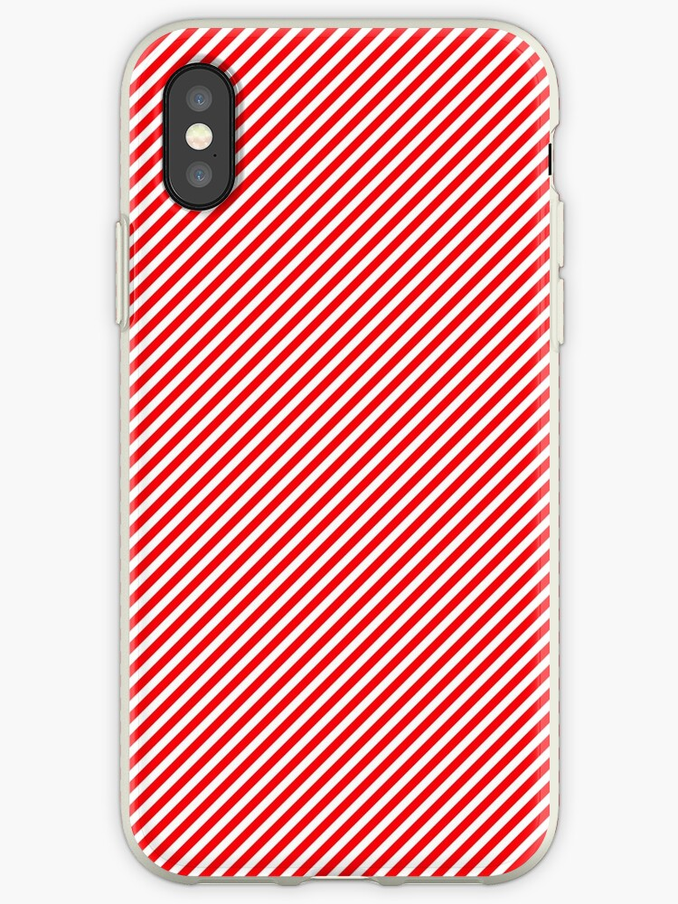 Christmas Red & White Micro Diagonal Candy Cane Stripe by podartist