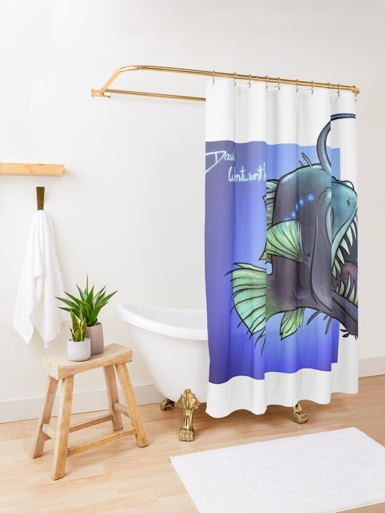 Alternate view of Predatory fish series: Angler Fish Shower Curtain