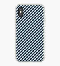 Midnight Blue & White Micro Christmas Candy Cane Diagonal Stripe iPhone Case