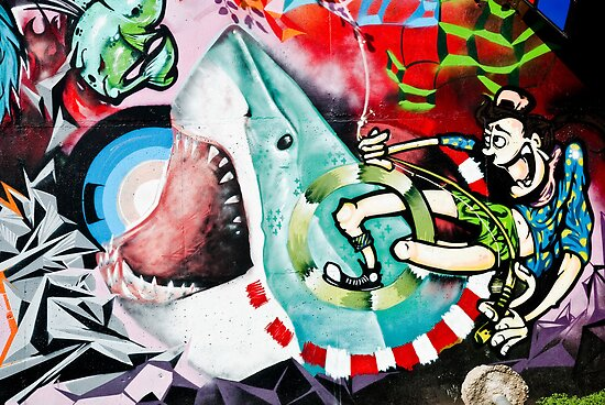 Catching a Shark Street Art by yurix
