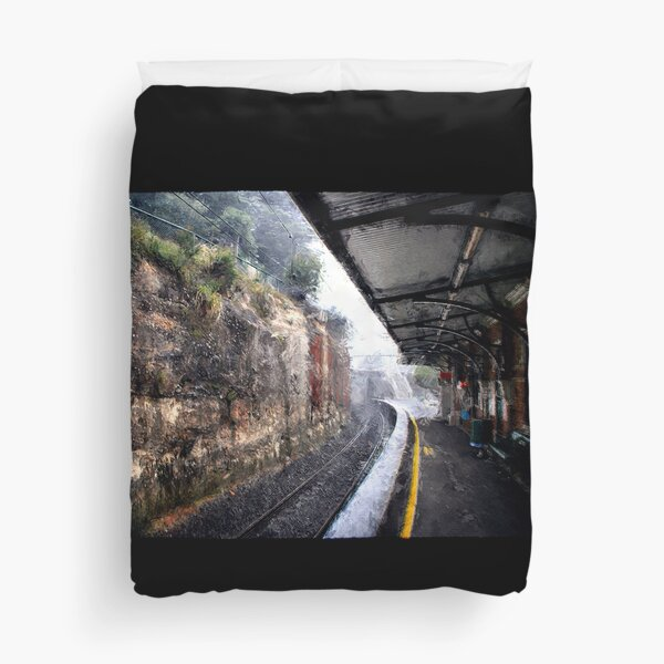 Rain. Leura train station Duvet Cover