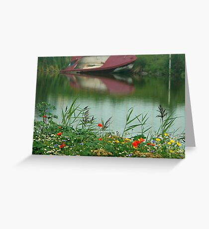water..and flower field Greeting Card