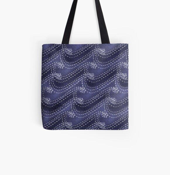 Sashiko waves All Over Print Tote Bag