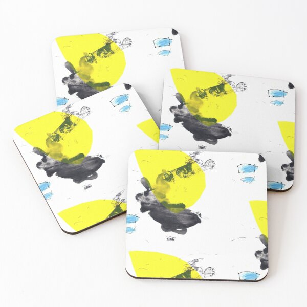 Black and Yellow Abstract Ink Painting Coasters (Set of 4)
