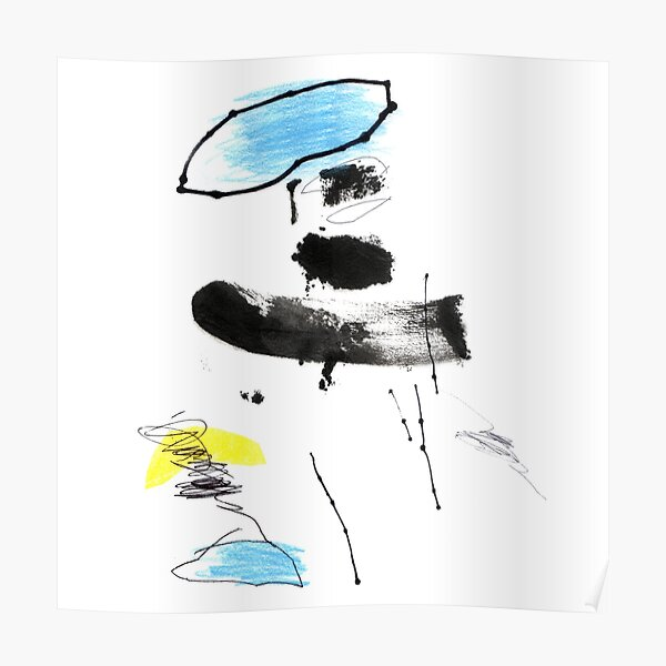 Black and White Abstract Art Painting Poster