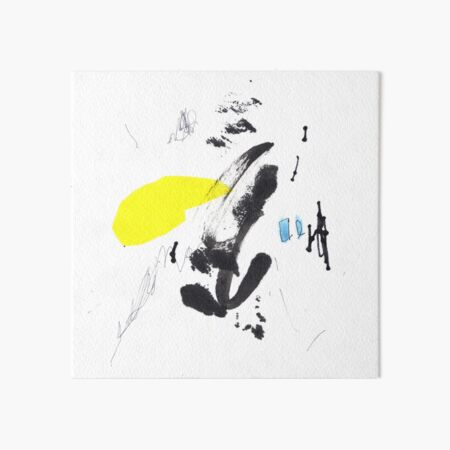 Black and Yellow Abstract Ink Painting Art Board Print